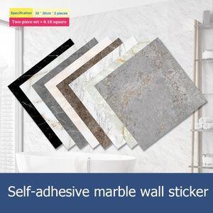 2Pcs Set 3D Waterproof Floor Stickers Self Adhesive Marble Wallpapers Bathroom Wall Decals DIY Wall Ground Decor