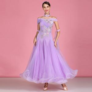 фиолетовый бальных танцев платья женщин вальса танцевальные костюмы сценические одежды для танцев танец носить короткие рукава длинные платья бахромой танцевальной одежды