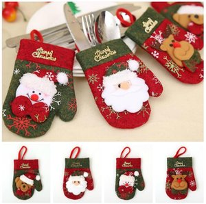 Lovely Christmas gloves Christmas Cutlery Set Knife And Fork Set Gift Bag festive home decor tableware bag kitchen accessories 4 Style