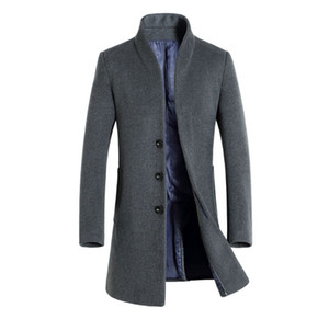 Kış Erkek Düz Renk Trençkotlar Yaka Boyun Uzun Mont Düğme İş Tarzı Moda Hoome Giyim