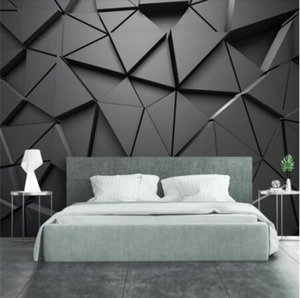 moda carta da parati papel de Parede personalizzato 3d foto murale stereo geometrico astratto triangoli grigi sfondo per il desktop