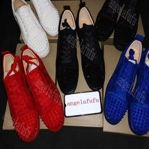 2020 Sneakers inferior sapato é Red Low Cut Suede Pico sapatos para homens e mulheres sapatos festa de casamento de cristal de couro Arthur