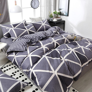 3 4pcs Geometric Pattern Duvet Cover Flat Bed Sheet Pillowcase Bedding Set Soft Skin-friendly Room Decoration Home Textile