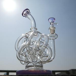 4mm Starke Wasserpfeife Vortex Recycler Glas Wasserleitung 12 Recycler Rohr Tupfen Öl Rig Super Zyklon Glas Bong Mit Schüssel XL137
