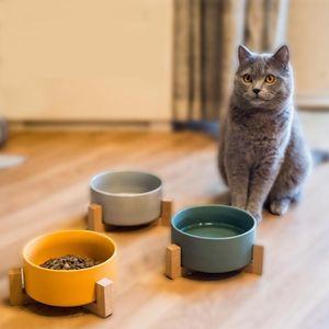 Сушат Ceramic Pet Bowl канистру воды Еда Лакомства для собак Кошки более комфортной Еды для котят и щенков Durable Feeder