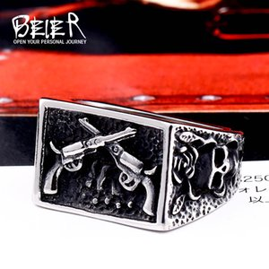 BEIER 316L Stainless Steel Bike Rock skull Men Ring Gun Fashion Jewelry Gift Dropshipping