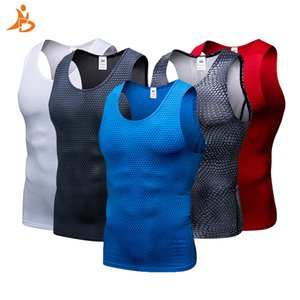New 2019 Compression Fitness Tights Tank Top Quickly Dry Sleeveless Gym Clothing Summer Workout Running Vest Sports Shirt Men Q190521
