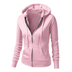 Mulheres Zipper hoodies camisolas Outono Inverno Hoodie Pockets Femme Casual cordão moletom com capuz Mujer