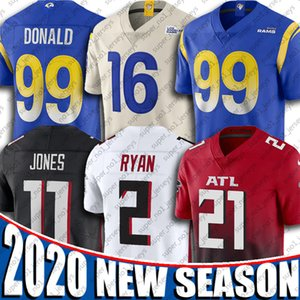 21 Todd Gurley II Jersey Aaron Donald Jersey Maillots Julio Jones 16 Jared Goff 2 Matt Ryan Los Angeles Atlanta Falcons Ram Football Maillots