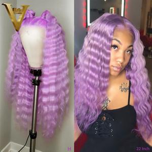 Deep Purple Ondas Colorido Humano perucas de cabelo verde Red peruca rosa 13x4 Transparente parte dianteira do laço do cabelo humano perucas para mulheres 130 Remy