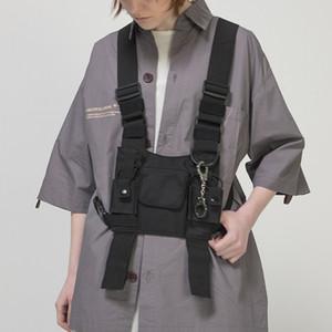 arnés bolsa de bolsillo en el pecho multi-bolsillo del bolso función de la cadera bolsa de chaleco táctico calle ocasional de la cintura de los hombres ajustables