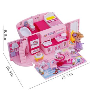 DIY Dollhouse For LOL Doll Handbag Doll Accessories Cute House Miniatures Kids Villa Kitchen Light Music Toys Suit For Children