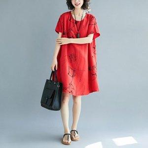 Платья для вечеринок Мода Хлопок Льняное Печатное Платье с коротким рукавом Женщины 2021 Летний Износ Жир мм Большой Размер Короткие Рубашка Рубашка База База
