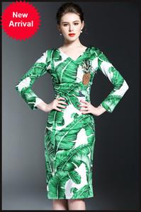 Pist Elbise Banana Leaf Nakış Kadınlar Elbise Seksi V Yaka Uzun Kollu Ananas Pullarda BODYCON Elbiseler Kadınlar