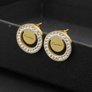 3 개 색상 고품질 진흙 드릴 다이아몬드 여성 쥬얼리 골드 실버 로즈 스터드 스테인레스 스틸 패션 귀걸이에 대한 여성 파티 선물