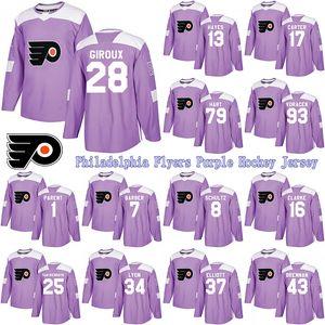 Personalizzato Philadelphia Flyers viola combatte il cancro Jersey 28 Claude Giroux 14 Sean Couturier 13 Kevin Hayes 11 Travis Konecny Hockey maglie