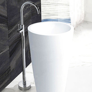 Schwarz / Chrom / Antique / Gold Boden befestigter Badewannen-Dusche-Hahn-Badezimmer Hot Cold Water-Mischer-Hahn