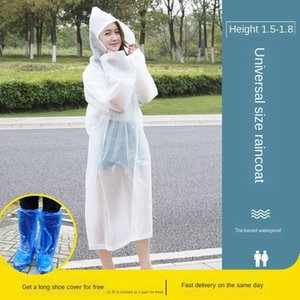 yURdP Disposable raincoat adult male and female children transparent conjoined protective Protection plastic thickened poncho long light rai