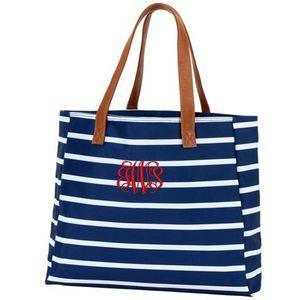 30pcs DHL New Customed Women Female Canvas Stripes Printing Zipper Beach Shoulder Bag 4 Colors Large Capacity Handbag Outdoor