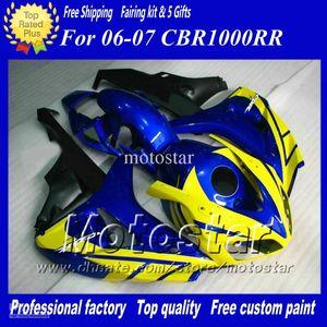 7Gifts Straßenrennen Verkleidungssatz für HONDA CBR1000RR 06 07 CBR 1000RR 2006 2007 glänzend blau gelb schwarz Verkleidungen ad59
