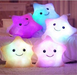 Luminoso brillante almohada estrella led luz suave relleno peluche almohada estrella muñeca colorido noche luz niños cojín juguetes de navidad regalos de cumpleaños