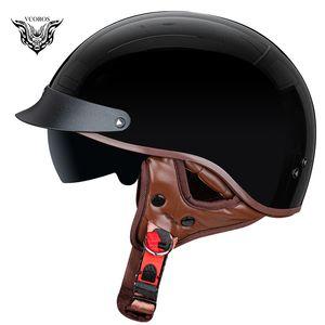 Open Face VCOROS F-02 Nueva retro casco de la motocicleta Vespa del hombre de la mujer de la media cara cascos para moto moto casco DOT aprroved