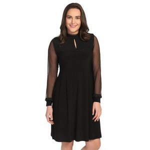 Large Size Women Frilly Black Lace Dress by Pianola 1241 Ship 387 from Turkey