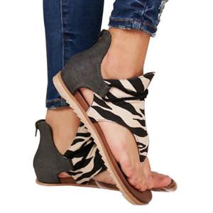 No Slip tiras suavemente único punta abierta plana de la manera talón de la playa del verano de las mujeres atractivas de las sandalias cómodas de la impresión floral PU artificial