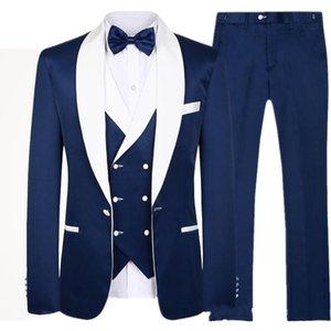 Handsome Navy Shawl Lapel Men Suit Slim Fit Groom Tuxedos Men's Wedding suit Prom Party Men Suits 3 pcs(Jacket+Pants+Vest)