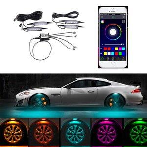 APP Steuerung Auto RGB LED-Rad Augenbraue Neonlichter Fender Under Side Lampe 3 Modi Flash-Strobe-Atem-dekorative Atmosphären