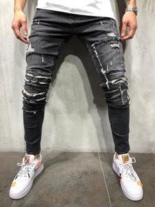 2020 Новые Мужчины Разорванные Джинсы Винтажные Джинсы Джинсы Карманные Мода Складки Плотные Джинсы Trend Trend Молния Маленькая Нога Эластичные брюки Большие размеры S-3XL