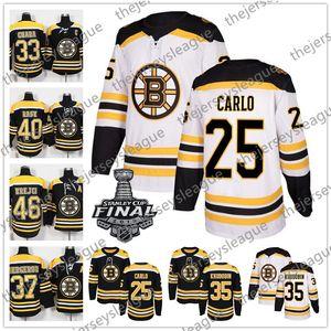 Boston Bruins 2019 Stanley Cup NEUE MARKE # 25 Brandon Carlo 35 Anton Khudobin 43 Danton Heinen Weißes schwarzes genähtes Hockeytrikot