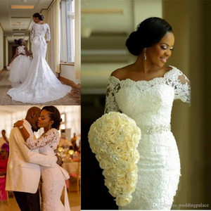 Latest 3 4 Sleeve Lace Mermaid Wedding Dresses Appliques Beaded Sashes Bride Dresses Zipper Back Wedding Gowns