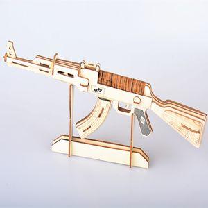 Творческий Лазерная Резка DIY 3D Деревянные Головоломки Игрушки АКМ / АК47 Пистолет Огнестрельное оружие Модель Woodcraft Сборка Игрушки Военная Коллекция Игрушка в Подарок