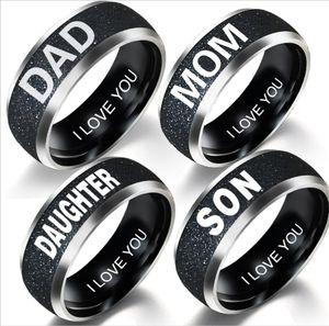 2019 nuevos accesorios familiares simples de acero inoxidable mate letras pareja anillo familiar DAD MOM SON DAUGHTER regalo de cumpleaños familiar