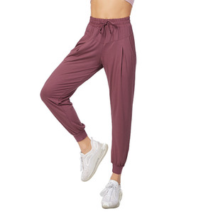 De secagem rápida esportes calças soltas pé feixe ocasional das mulheres de fechamento correndo calças de fitness finas respirável cintura alta calças de yoga