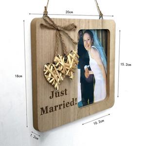 20x18cm Nature Color Wooden Pendant Drop Ornaments Photo Frame Weaving Love Photo Frames Village Vintage Wedding Supplies