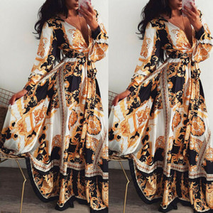 Mujeres Boho Wrap Summer Lond Dress Holiday Maxi Loose Sundress Floral Print Cuello en V Manga larga Vestidos elegantes Cocktail Party