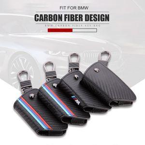 Funda Shell para BMW de cuero de fibra de carbono M Color Sport Remote Key FOB Case