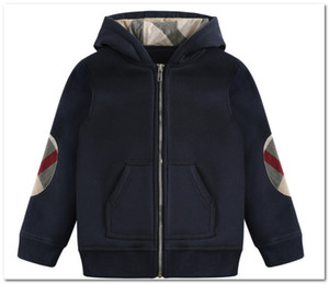 Fashion Boys jacket kids patch plaid long sleeve casual outwear children hooded zipper sweatshirt outwear brand kids clothes P0031
