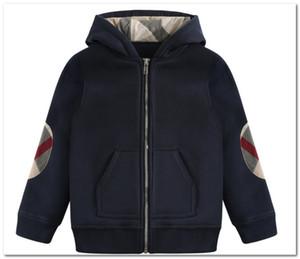 Moda meninos jaqueta kids remendo manta manga longa casual outwear crianças com capuz zíper moletom outwear marca crianças roupas p0031