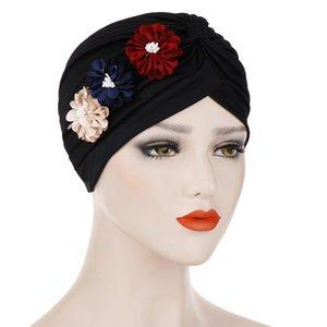 Мусульманские женские эластичные шелковистой хлопчатобумажной оборкой три цветка шляпа тюрбана рак хемо шапочки головные уборы покрыты головные уборы аксессуары для волос