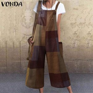 VONDA Sexy Sleeveless Women Jumpsuit 2020 Summer Square Collar Printed Rompers 5XL Casual Overalls Loose Long Wide Leg Pants