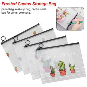 Piccolo bordo sveglio del sacchetto trasparente di immagazzinaggio smerigliato cactus fresco creativo studente grande capacità anello sacchetto della matita
