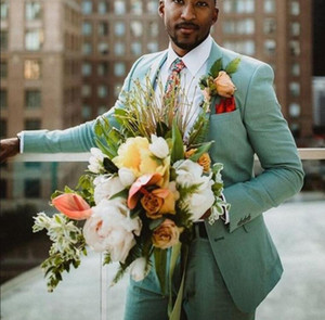 Мятно-зеленый льняные смокинги для жениха и невесты Лучшие мужские летние свадебные костюмы Формальное выпускное платье для вечеринок Смокинг 2 шт.