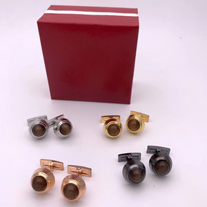 Brown Crystal Luxury CuffLinks for Wedding Gift Sleeve Buttons Hot sale French luxury Cufflinks for Men