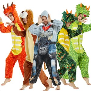 dinosaur lion pajamas for men and women winter adult hooded Unicorn pajamas sleepwear for women home clothes Christmas Onesies Y200704