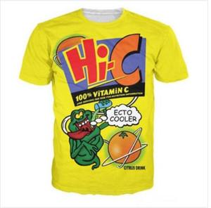 Moda Giyim Harajuku Ecto Soğutucu Turuncu Hi-C Narenciye İçecek Rahat T-Shirt Kadın Erkek 3D T-shirt Harajuku T Gömlek Yaz Tarzı HP019 Tops