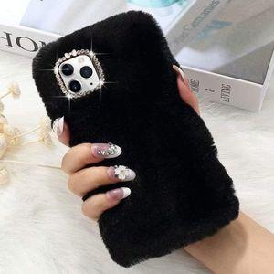 Caso sveglio Girly con Bling del diamante di cristallo molle del silicone della cassa del telefono Fluffy Furry antiurto di protezione per iPhone 7 8plus Xr 11 11 Pro Max