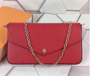 Venta caliente a Felice 3 bolsos de diseño compuesto genuina correa de cadena de cuero cartera de hombro crossbody bolsas Monederos de las señoras las mujeres con la caja de la bolsa